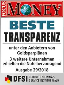 Focus Money Test Goldsparplananbieter 2017 - SOLIT Gruppe - Beste Transparenz