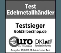 GoldSilberShop.de ist Testsieger im Edelmetallhändlertest 2018 von Euro am Sonntag