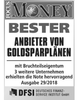 Focus Money Test Goldsparplananbieter 2018 - SOLIT Gruppe - Bester Anbieter von Goldsparplänen