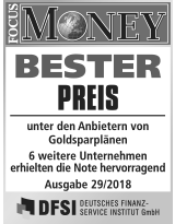 Focus Money Test Goldsparplananbieter 2018 - SOLIT Gruppe - Bester Preis