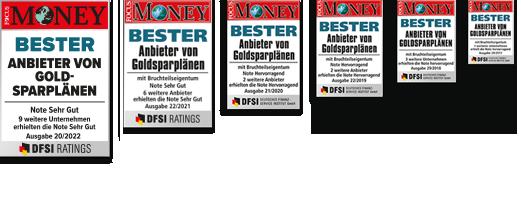 SOLIT Gruppe | Focus Money Testsiege Übersicht | Bester Anbieter von Goldsparplänen